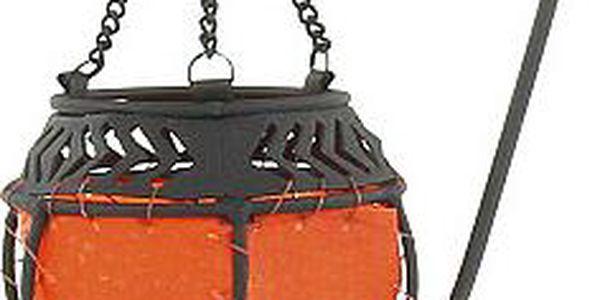 Svícen Sunchi 597-Svícen + stojánek s řetízkem bowl tmavě oranžová