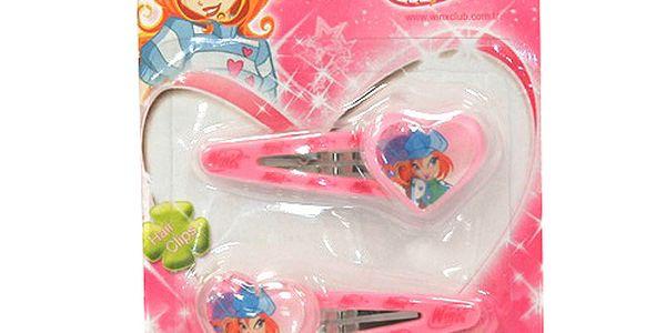 Sponky do vlasů Winx Club Cvakačka 2 ks se srdíčkem M Bloom světle růžová