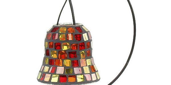 Stylový kovový svícen 814 s ozdobou mozaikové baňky, z kolekce Sunchi, s červenými sklíčky.
