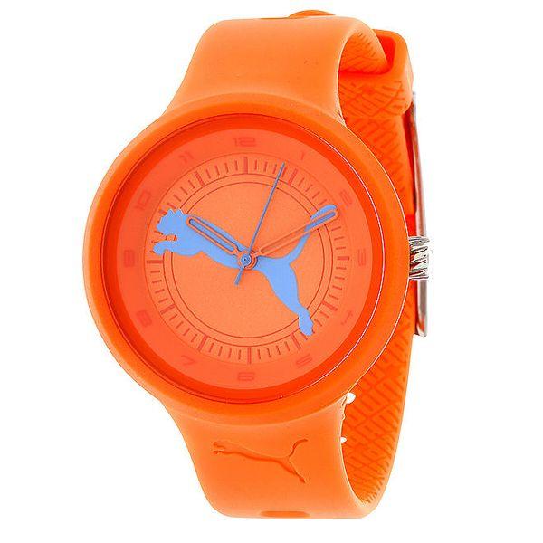 Dámské oranžové kulaté analogové hodinky Puma