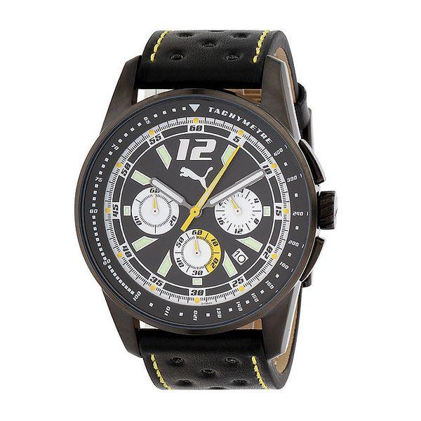 Pánské černé ocelové hodinky Puma s černým řemínkem