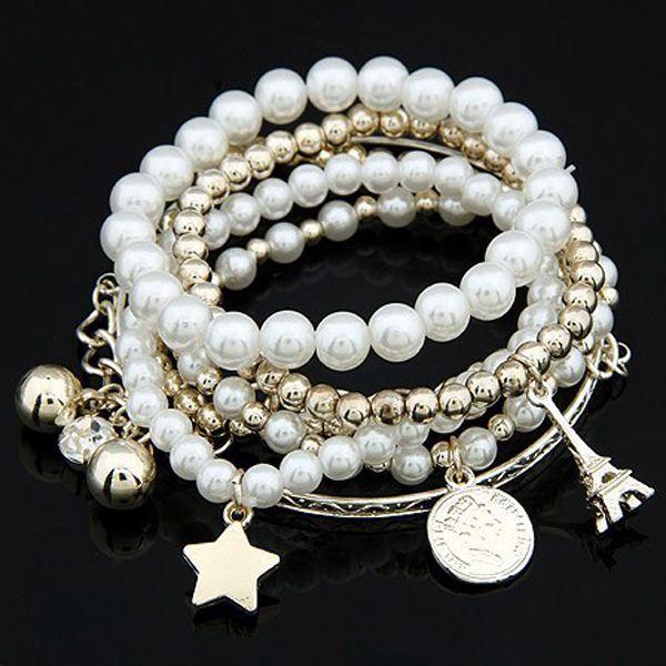 Vícevrstvý náramek s perlami a přívěsky a poštovné ZDARMA! - 35703844
