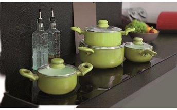 Sada 8ks nádobí, zelená, Ambition - keramický povrch