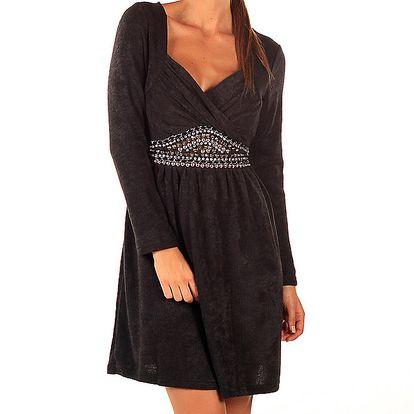 Dámské černé šaty Ada Gatti s korálky v pase a mašlí