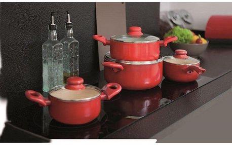 Sada 8ks nádobí, červená, Ambition - keramický povrch