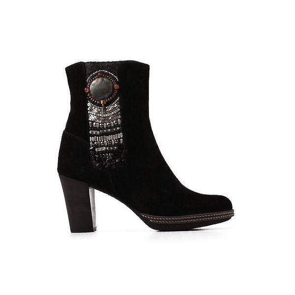 Dámské černé kotníkové botičky s aplikacemi Derhy