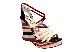 Barevné páskové sandály na klínku Red Hot