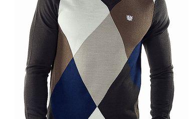 Pánský kostkovaný svetr s černými rukávy a zády Bendorff