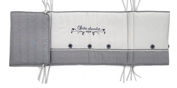 Šedý mantinel do dětské postýlky 45x180 cm