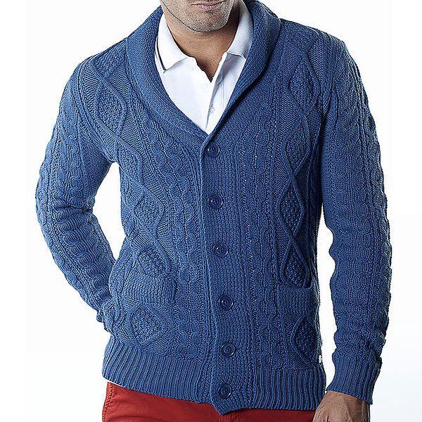 Pánský modrý kardigan s copánkovým vzorem Bendorff