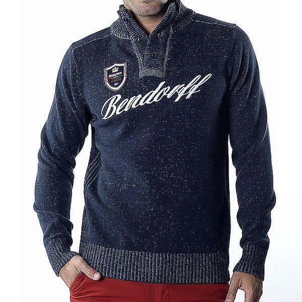 Pánský tmavě modrý melírovaný svetr s nášivkou Bendorff