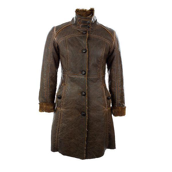 Dámský hnědý zimní kabát s knoflíčky Company&Co