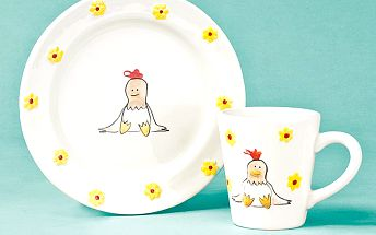 Set talířek, hrníček Slepičky, do mikrovlnné trouby i myčky na nádobí