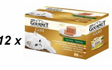Purina Gourmet Gold Kousky masa v paštice 12 x (4 x 85g )