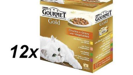 Purina Gourmet Gold kousky ve šťávě 12 x ( 8x85g )