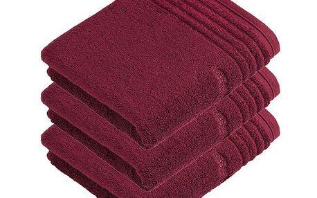 Ručník Vienna Style Supersoft, sada 3 kusů, Vossen, tmavě červená