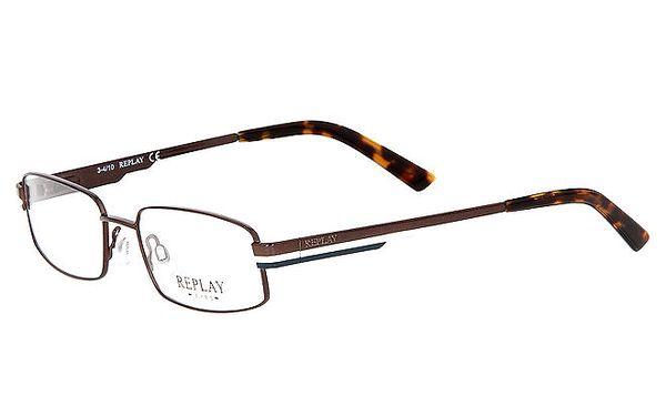 Pánské hnědé brýle s žíhaným zakončením Replay