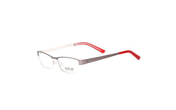Pánské hranaté brýle s červeným zakončením Replay