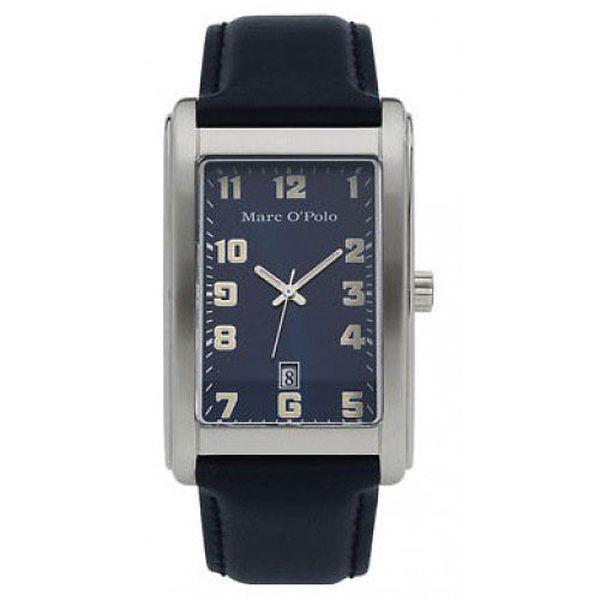 Pánské hranaté hodinky s modrým ciferníkem Marc O´Polo