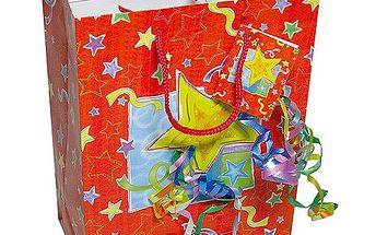 Dárkové tašky Dárková taška hvězda a konfety 264x327 mm