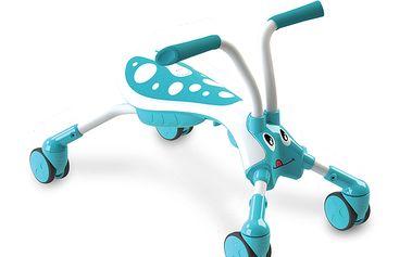 Odražedlo čtyřkolka - brouček modrý nabízí unikátní jízdu díky plně otočným kolečkům a řídítkům, které umožňují pohyb ve všech směrech (360°)