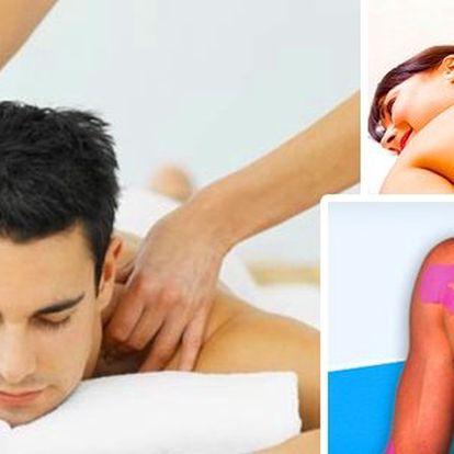 Balíček 5-ti zdravotních masáží v délce 90 min s využitím infralampy, biolampy, baňky, autotrakčního lehátka a po každé masáži ošetření pomocí kineziotapingu