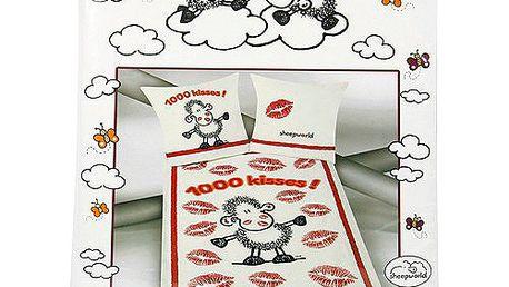 Povlečení Sheepworld Povlečení Kisses (135x200cm a 80x80cm), Sheepworld