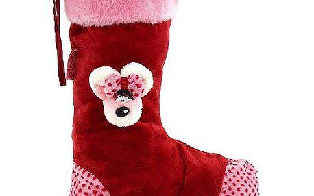 Velká vánoční punčocha na dárky s 3D motivem myšky Diddliny, barva červená.
