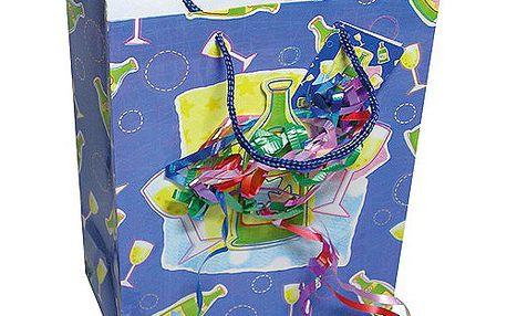 Dárkové tašky Dárková taška šampaňské a konfety 264x327 mm