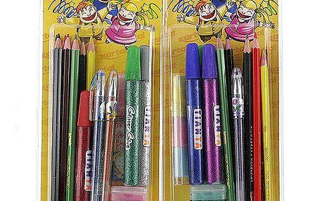 Kancelářská sada Kartal Fantastik v blistru lepidla a tužky s glitry, pastelky, guma