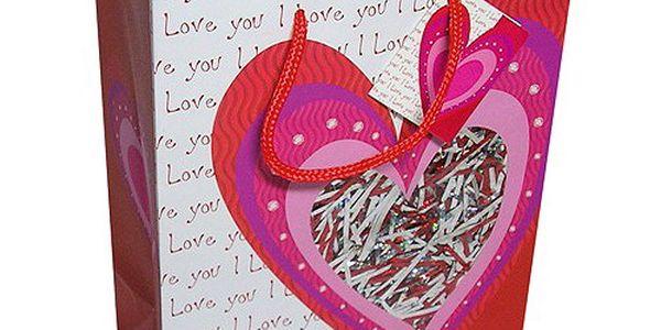 Dárkové tašky Dárková taška srdce s výplní třpytek 264x327 mm