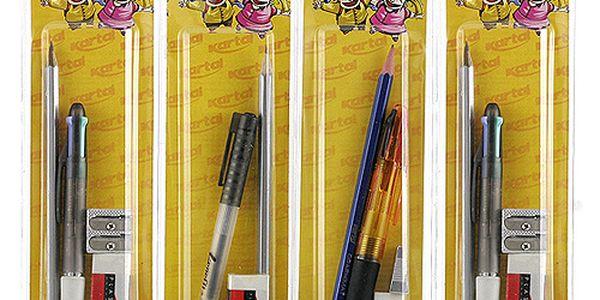 Kancelářská sada Kartal Fantastik v blistru kuličkové pero, tužka, guma a ořezávátko