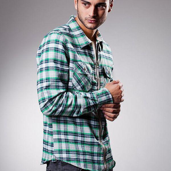 Pánská zeleno-modrá kostkovaná košile Celop se zipem