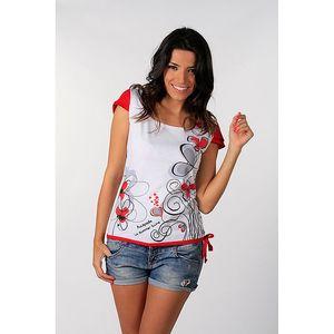 Dámské červeno-bílé tričko s květinovým potiskem Avispada