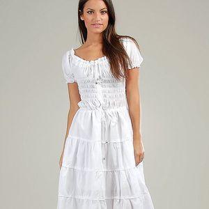 Dámské bílé volánové carmen šaty Anabelle