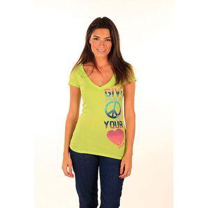 Dámské limetkově zelené tričko s mírovým symbolem Aéropostale