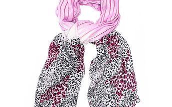 Dámská růžovo-bílo-černá leopardí šála Bella Rosa