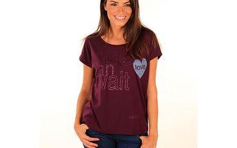 Dámské vínové tričko s nápisem a srdíčkem Aéropostale