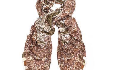 Dámský hnědý šátek s orientálním vzorem Bella Rosa