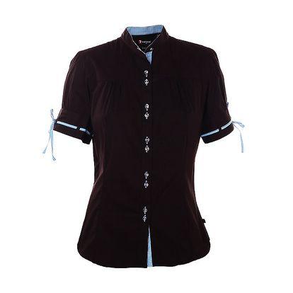 Dámská černá košile 7camicie s modrou kostkovnou légou