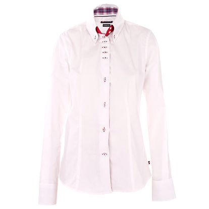 Dámská bílá košile 7camicie s kostkovanou légou