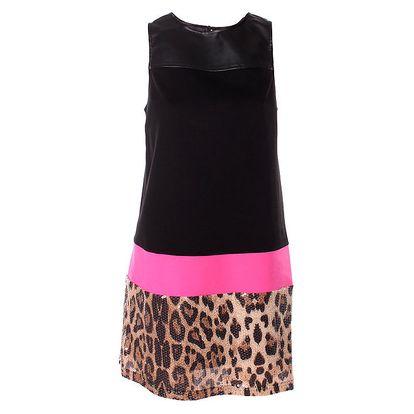 Dámské černé šaty Baby Phat s leopardím vzorem
