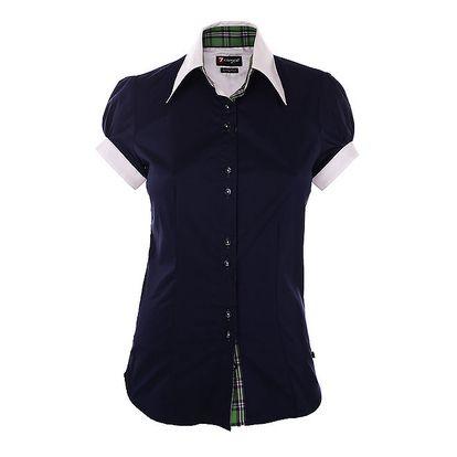 Dámská tmavě modrá košile 7camicie s bílým límečkem a zelenými detaily