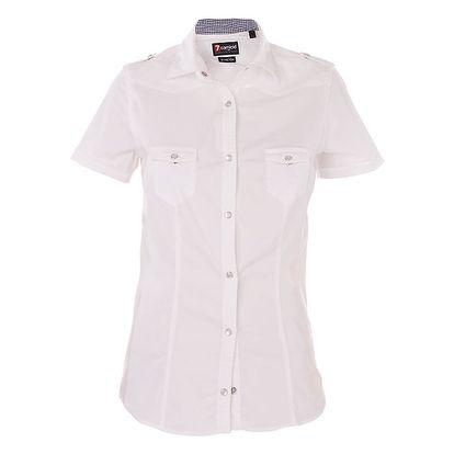 Dámská bílá košile 7camicie s modrou kostkovnou légou