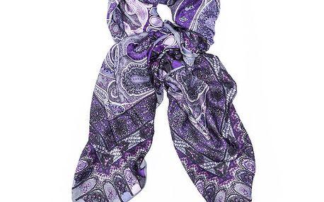 Dámský fialový šátek s orientálním vzorem Bella Rosa