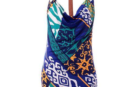 Dámské modro-tyrkysové šaty Baby Phat s potiskem
