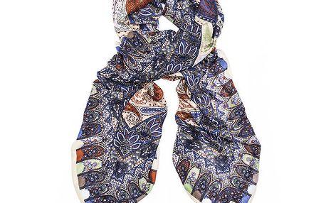 Dámský modrý šátek s orientálním vzorem Bella Rosa