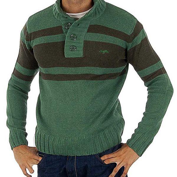 Pánský zelený pletený svetr s pruhy Lotto