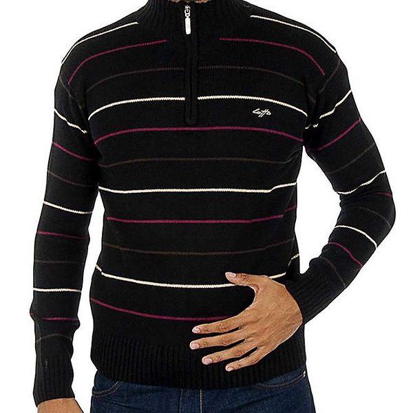 Pánský černý svetr Lotto s barevnými pruhy