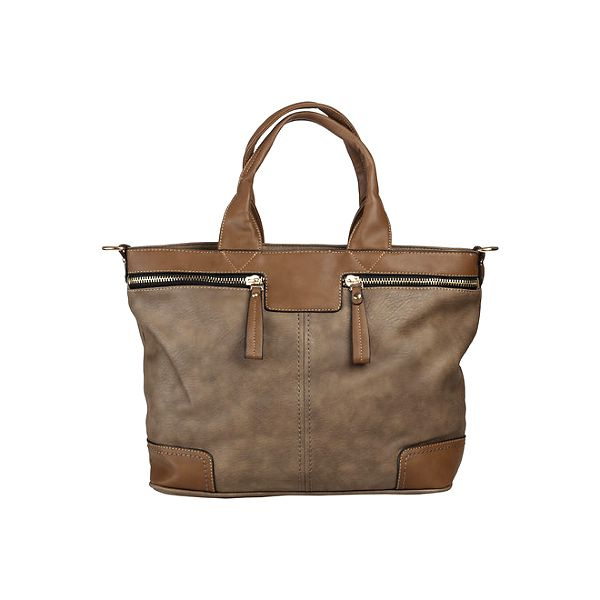 Dámská hnědo-béžová kabelka s ozdobnými zipy Dudlin